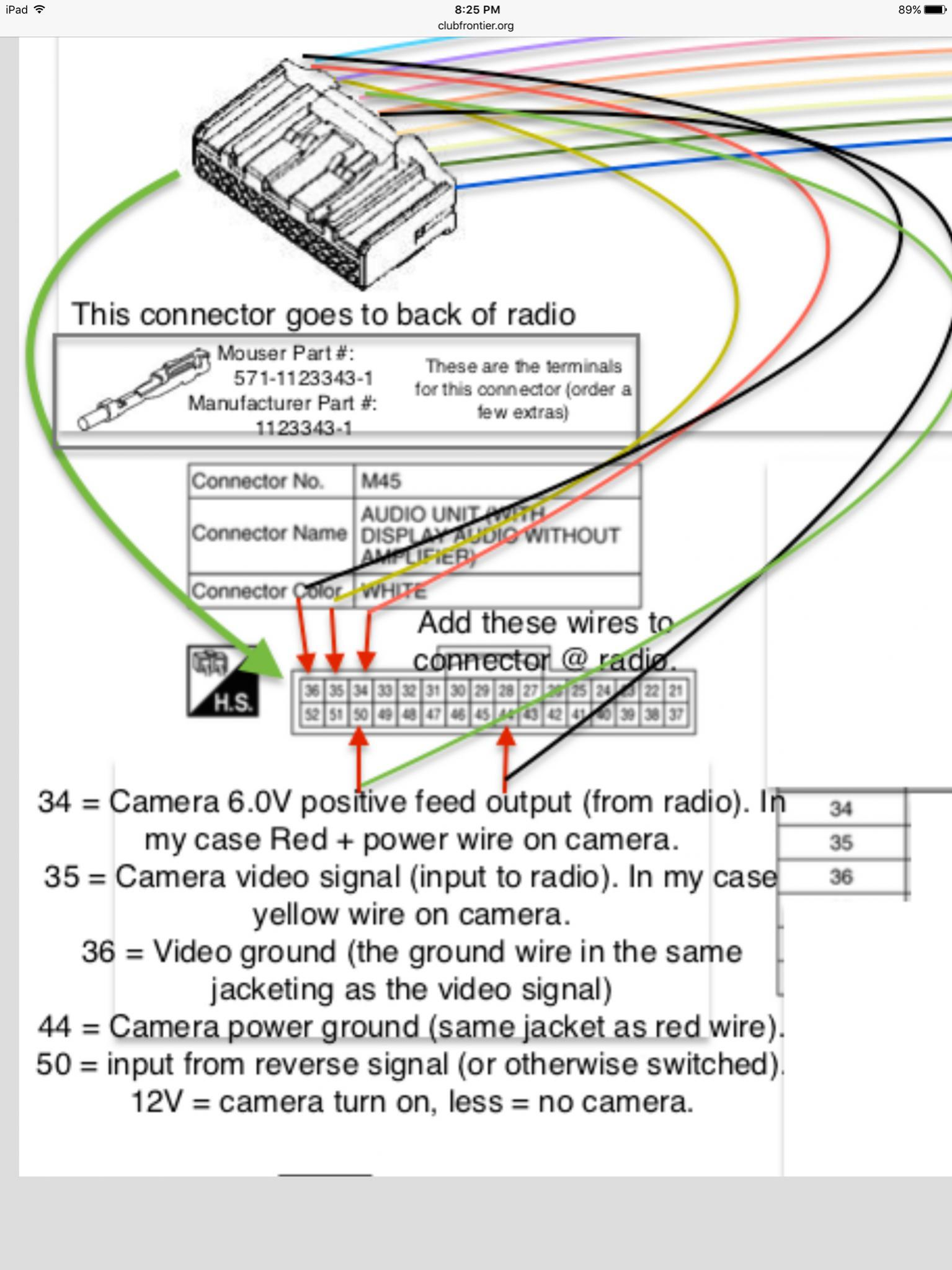 Frontier Backup Camera Wiring Diagram Stereo 89 Nissan E Adding Aftermarket To 2016 Sv Forum Rh Clubfrontier Org Toyota Installation